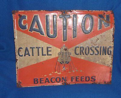 Vintage Beacon Feeds CAUTION CATTLE CROSSING Metal Sign