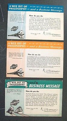 Advertising Cards - 1934-1937 - Chicago & North Western Line - Lot 3 Pieces