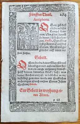 Breviary Hortulus Animae Woodcut Holy Water - 1550