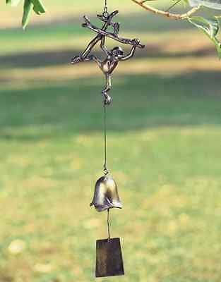 Monkey Bell Wind Chime Garden Decor Hanging Monkey Windchime Cast Iron