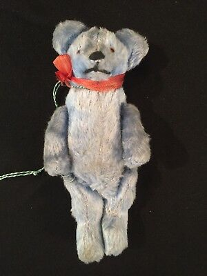 "Circa 1920's Antique Blue Bear, 6"", straw stuffed, Original ribbon."