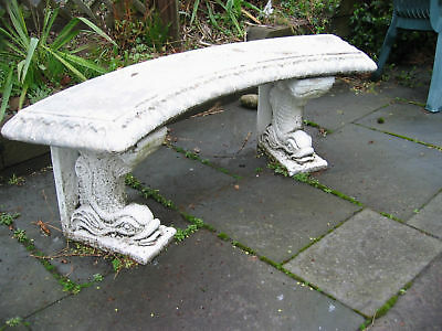 Large Antique Cast Stone Curved Garden Bench Chinese Art Deco c1920