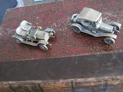 Pair Antique Miniature Artisan Hand Cast Pewter Classic Cars from Italy c1960