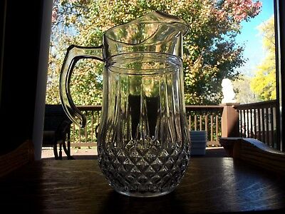 """Large Water Beverage Pitcher 9.5"""" Glass Lead Crystal Longchamp Cristal D'Arques"""