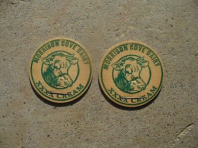 Lot of 2 Morrison Cove Dairy Milk Bottle Caps Altoona Pa Blair County