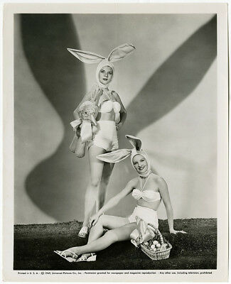 Vintage 1949 Hollywood Easter Bunny Pin-Up Girls Photograph Fun Holiday Theme