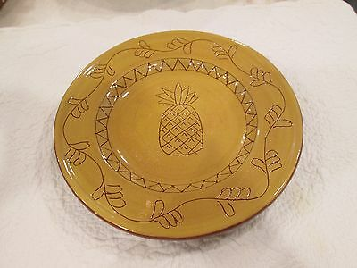 S/5 Vintage Ceramic Redware Plates Incised Pineapple Fall Art Pottery FREE SHIP!