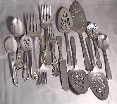 Silverplate Flatware Mixed Lot 14 Pcs Serving Pieces and Fancy Patterns