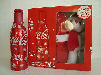 """Rare Coca Cola """" LIMITED CHRISTMAS BOX"""" with aluminium bottle from SINGAPORE"""