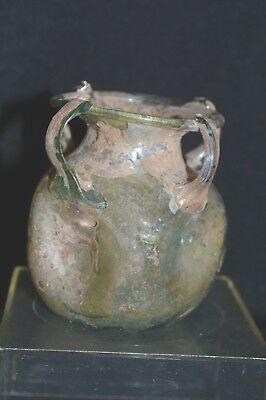Ancient Roman Glass or Desert Glass Vase with Four Handles
