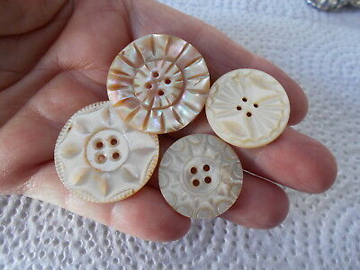 Antique/vintage 4 Pretty Hand Carved Pearl Buttons  #660