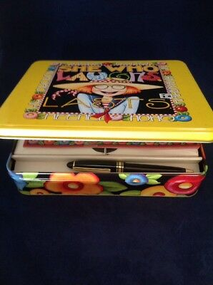 """Mary Engelbreit Stationary Collectible Tin """"She Who Laughs Last"""" 7 1/4"""" x 8 1/4"""""""