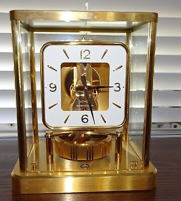 Jaeger- LeCoultre CAL. 540 13 J Atmos Mantle Shelf Clock Square Dial WORKS SWISS