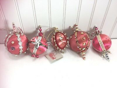 5 Vintage Christmas Ornament Beaded Sequin Satin Pink Salmon Coral 22530