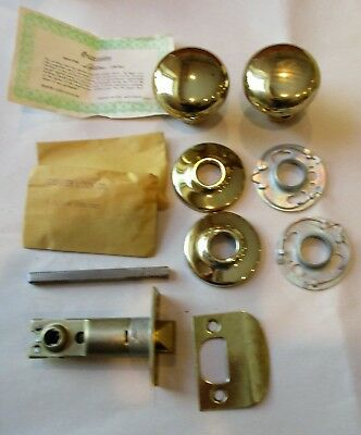 Vintage Dexter Solid Brass Door Knob Latch Set Passage #1210A Nos Unused