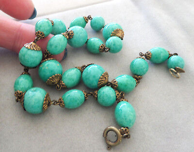 Vintage Peking Glass and Brass Necklace  45.9 Grams