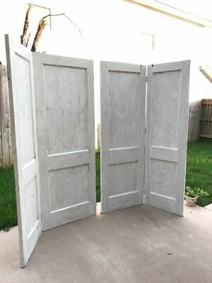 2 Sets (4 doors) Antique Farmhouse Doors w/Hinges Refinished in White Crackle
