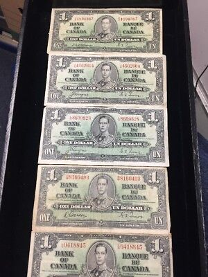 Canada 1937 $1 Notes Average Circulated Lot Of 5