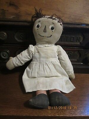 """Pf Volland~ Antique Vintage 16"""" Raggedy Ann With Cardboard Heart~ Outlined Nose"""