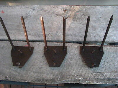 3 RARE Old smoke house meat Hooks Wall Shelf  Tack barn rustic hangers vintage
