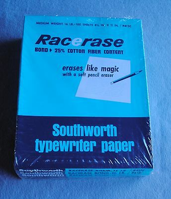 Vintage 500 Sheet Southworth Racerase Typewriter Paper Medium Weight 16lb P412C