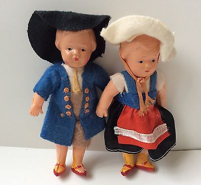Vintage Japan Celluloid Pair Of Dolls