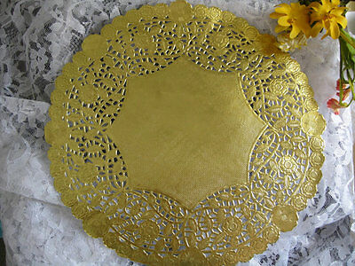 """125 pcs ❤ 12"""" INCH ROUND GOLD FOIL PAPER LACE DOILY WEDDING PLACEMAT CHARGER"""