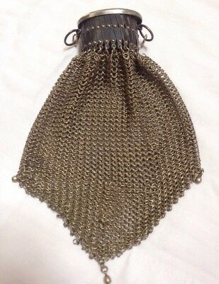 Antique Vintage 30s Art Deco French Chain Mail Accordian Handbag Purse Clutch