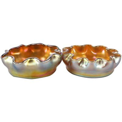 Pair of Antique Louis Comfort Tiffany Gold Favrile Art Glass Salt Cellars