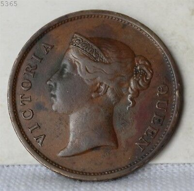 """1845 Straits Settlements 1 Cent """"XF"""" *Free S/H After 1st Item*"""