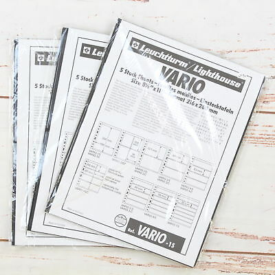 3 Packets of New Leuchtturm Lighthouse Vario 5 Stock Sheets 1S, 2S and 4S