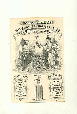 Franco American Mineral Spring Water Company Mihlon & Glover Trade Card