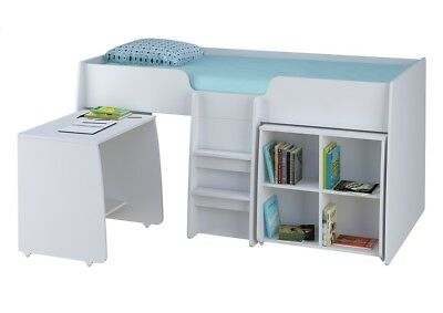 Kids Cabin Bed With Desk Single Storage Bed Childrens Bookcase Bed White Bed  sc 1 st  PicClick UK & KIDS CABIN BED With Desk Single Storage Bed Childrens Bookcase Bed ...