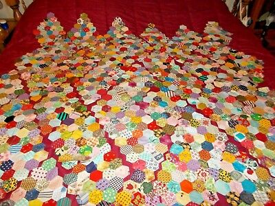 "Lot of 41 Vintage Grandmas Flower Garden Quilt Top Pieces ONLY 15 1/2"" x 9 1/2"""