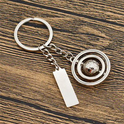 1x Rotating Football Creative Keychain Alloy Charm Bag Car Keyring Unisex Gift