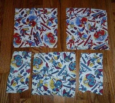 3 Superman 1940 Blue Cloth Swatch Fabric Scare Material WWII