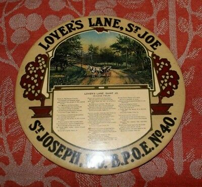 "BPOE Elks Arts & Crafts Celluloid Plaque St Joseph Missouri 6 1/2"" Advertising"