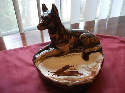 Vintage 1950's H. Bequet Quaregnon Ashtray with Dog and Stag (Belgium)