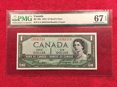 Bank of Canada BC-29b 1954 1 Dollar Devils Face PMG 67EPQ Beattie/Coyne