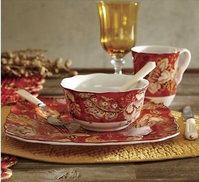 222 Fifth Gabrielle Red 16 PC Dinnerware Set. New.