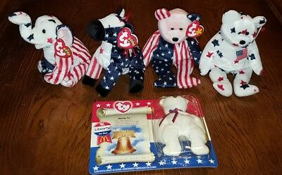 5 Ty Beanie Baby Babies Red white & Blue Elephant Donkey & 3 Bears MIP