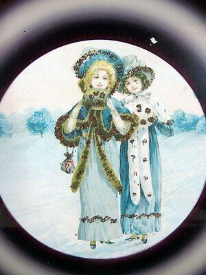 Antique Victorian Two Snow Maidens Round Glass Chimney Flue Cover Shield #4 yqz