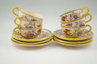 Antique Deruta Italy Raffaellesco Majolica  Set Of  6 Teacups And Saucers