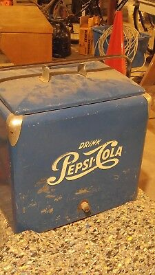 Vintage 1950's Pepsi Cola Blue Cooler w/ white logo. Has removble upper tray