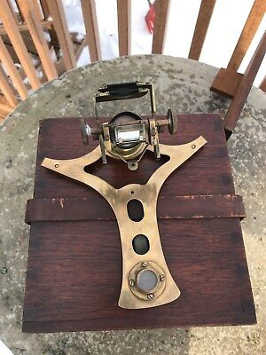 Vintage Kelvin Azimuth Mirror in Fitted Wooden Box for Maritime Navigation