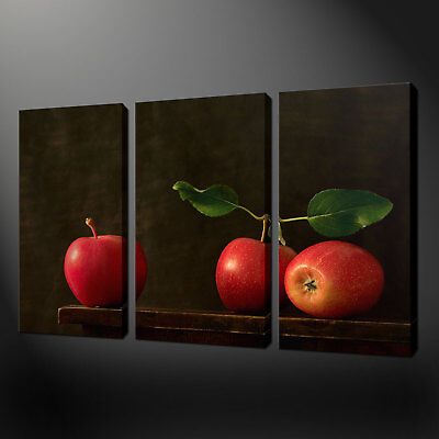 Red Apples Kitchen Art 3 Panels Canvas Print Ready To Hang