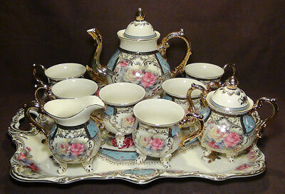 10 Pc Brand New Gorgeous European Design Bone China Coffee / Tea Set with Tray