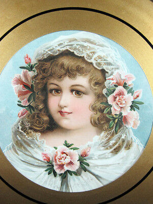 Antique Victorian Girl & Flowers Round Glass Chimney Flue Cover Shield #10 yqz