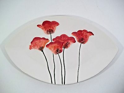 "Fitz & Floyd ""Poppies"" Oblong Platter/Tray - 16"" X 10"" Retired Classic Piece!"