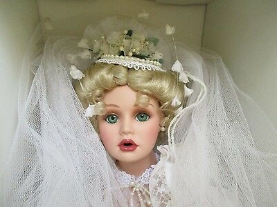 "Destiny Dolls The American Bride 22"" Porcelain Bridal Doll 1996 L.E... ANN DOLAN"